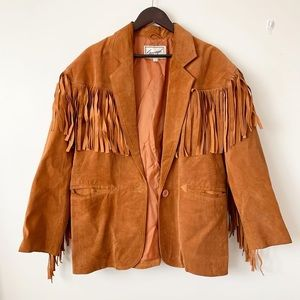 Vintage fringe suede jacket savagé brown chestnut